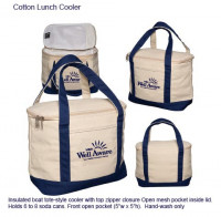 Cotton Tote Lunch Cooler - Beach/Picnic/Camp, Food/Beverage